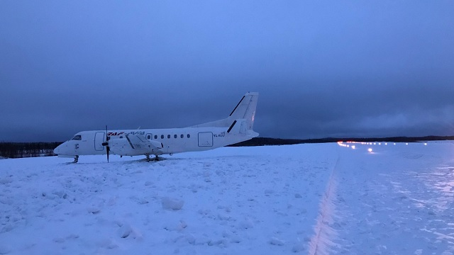 Saab 340 YL-RAF Runway Excursion