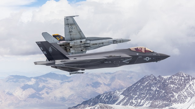 US Marine Corps F-35C with F/A-18A